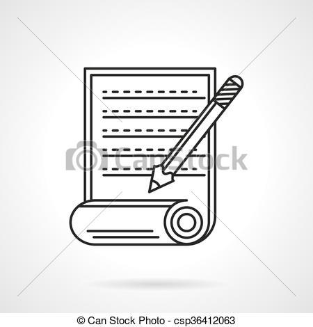 Clip Art Vector of Manuscript icon flat line vector icon.