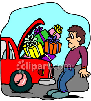 Clipart Picture of a Man Trying to Fit Too Many Packages Into His.