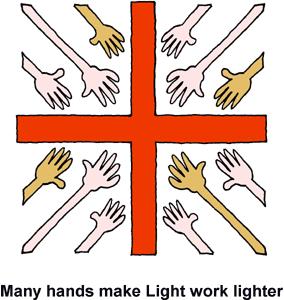 Many Hands Extended Toward Cross.