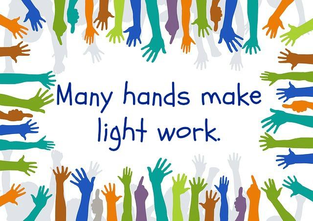 Many Hands Make Light Work Clipart.