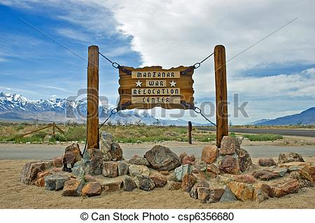 Stock Photography of Manzanar War Relocation Center entrance sign.
