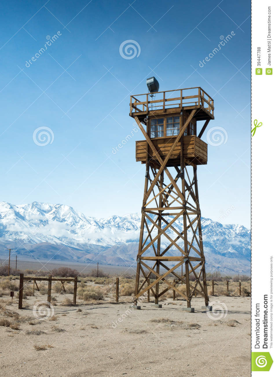Manzanar Watch Tower Stock Photo.