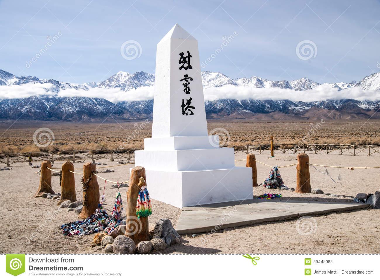 Manzanar Memorial And A Thousand Cranes Stock Photo.