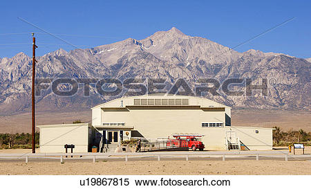 Stock Image of manzanar national historic site internment camp.