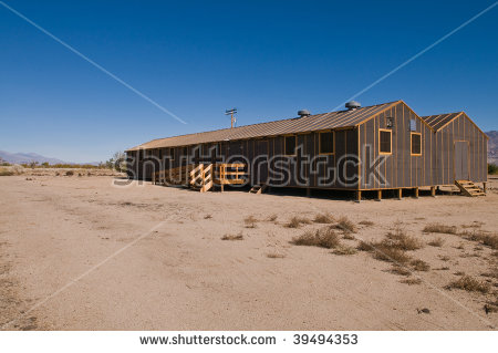 Barracks Building At The Former Manzanar Internment Camp Stock.
