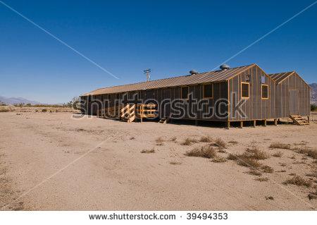 Barracks Building At The Former Manzanar Internment Camp Stock.