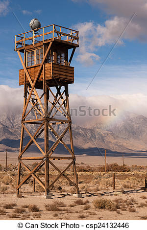 Stock Photo of Guard Tower Searchlight Manzanar National Historic.