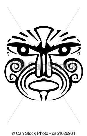 Drawing of Maori face.