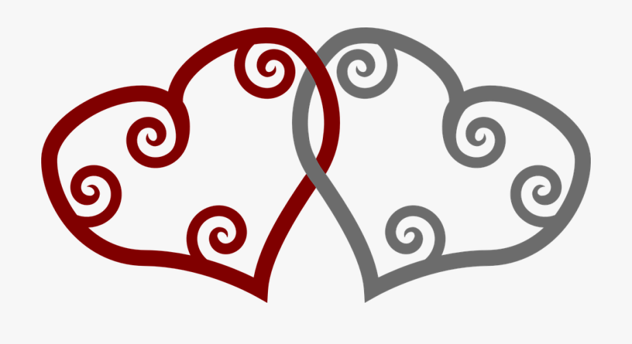 Two Hearts Shapes Red Grey Intersection.
