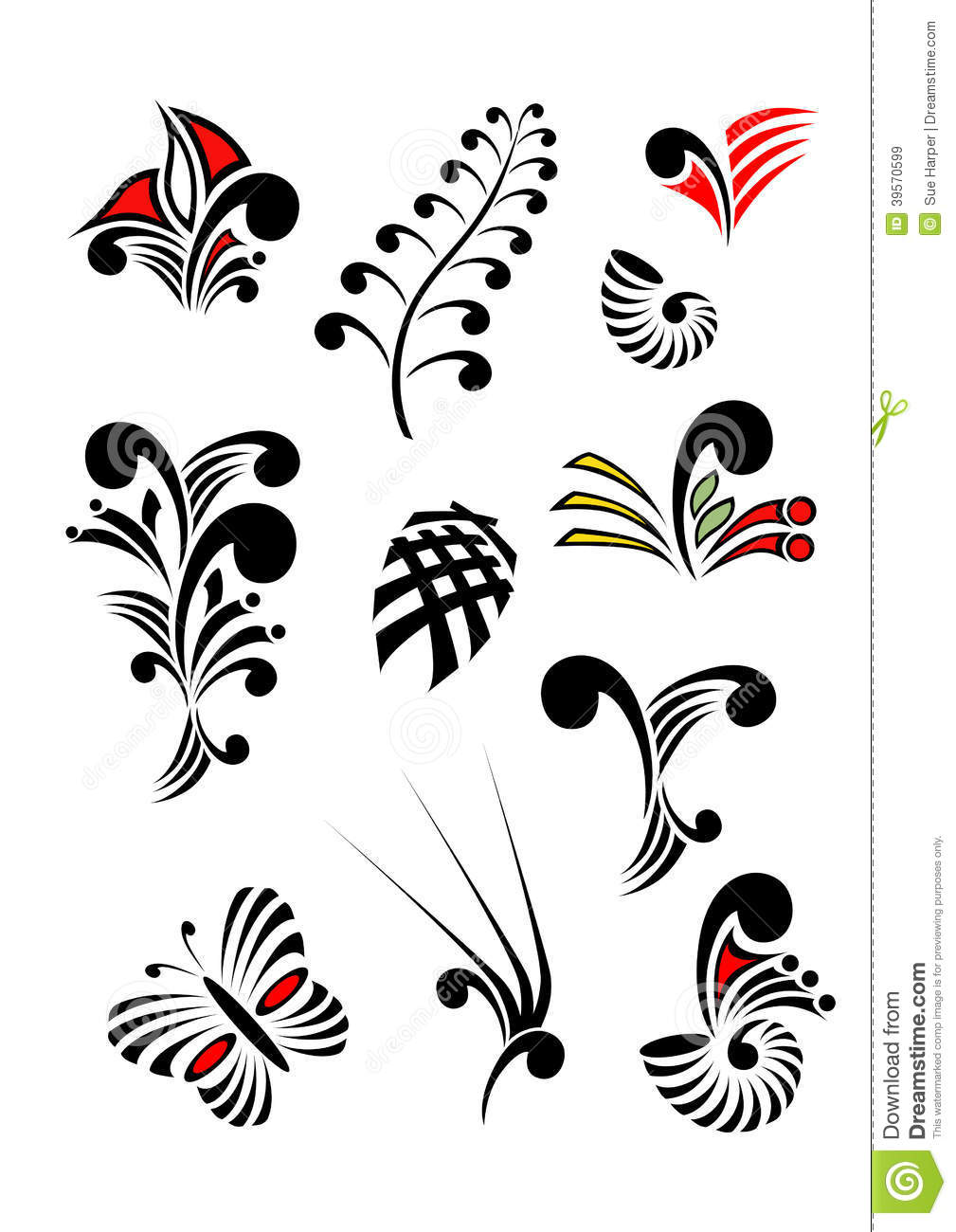 Maori Koru Design Elements Color Set Stock Illustration.
