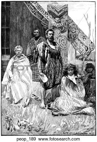 Stock Illustration of A group of Maori tribesmen peop_189.
