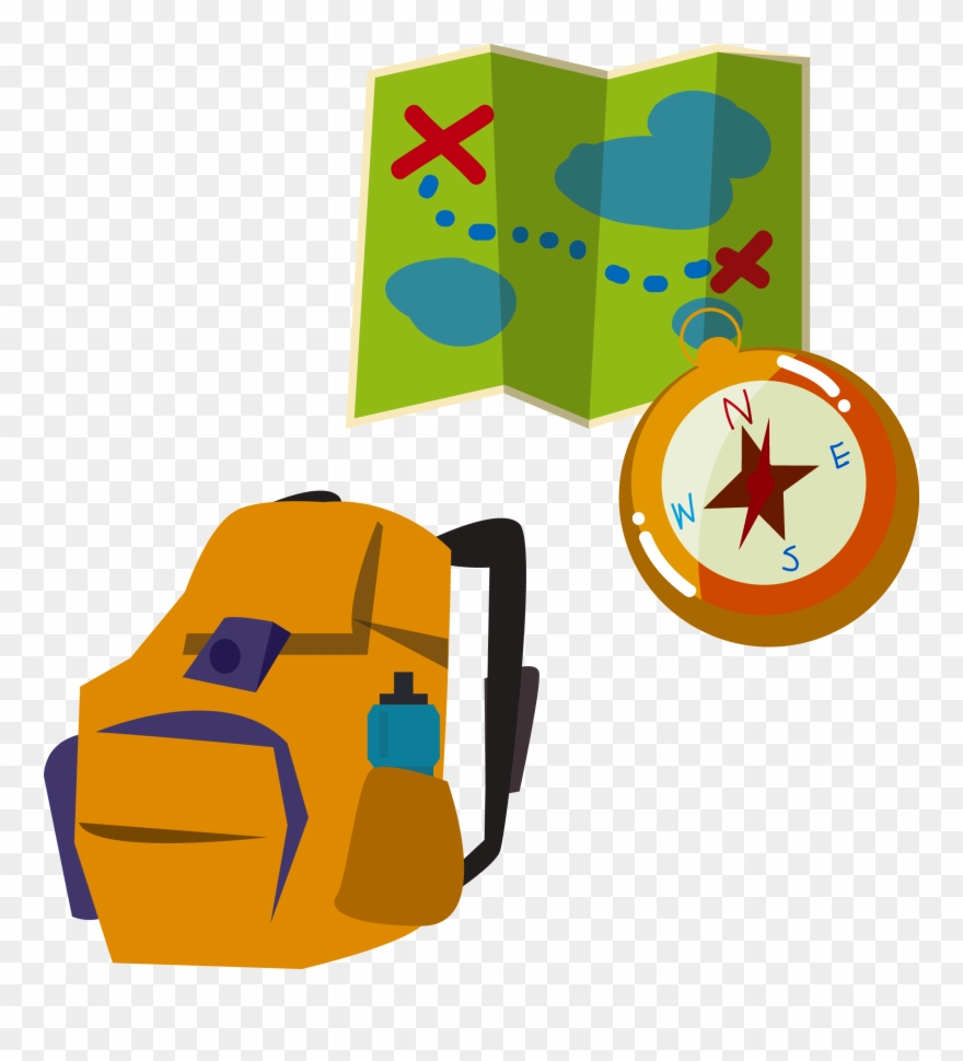 Backpacking Illustration Map Compass Backpack Transprent.
