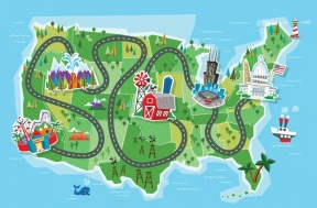 Simple Road Map Clipart.