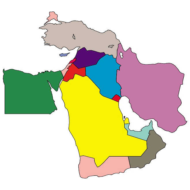 Middle East vector map.