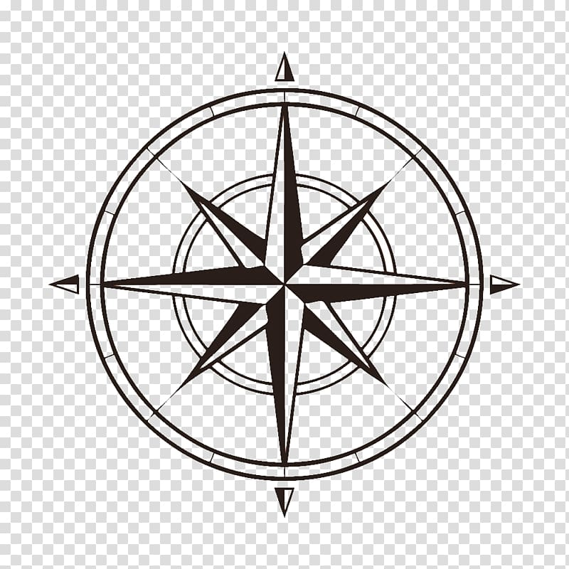 Round logo, North Compass rose Map , compass transparent.