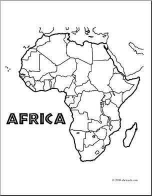 Clip Art: Africa Map (coloring page) Unlabeled I abcteach.