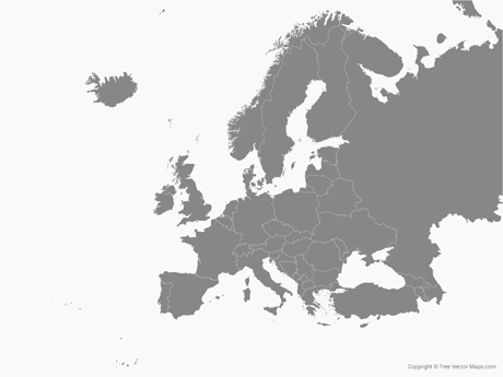 Vector Map of Europe with Countries.