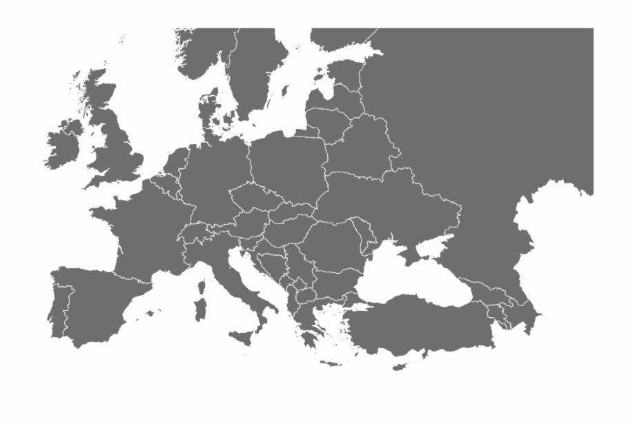 Europe, Blank Map, Map, Monochrome Photography Png.