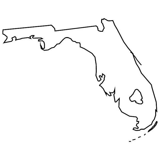 Vector outline map of Florida.