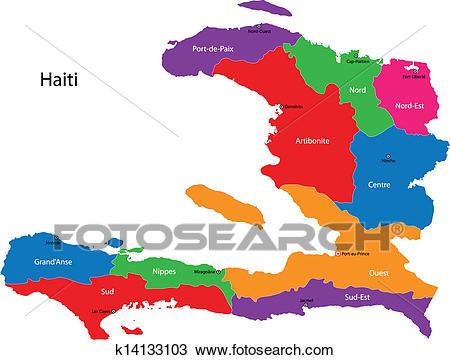 Map of the Republic of Haiti Clipart.