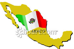 of Mexico With Flag.