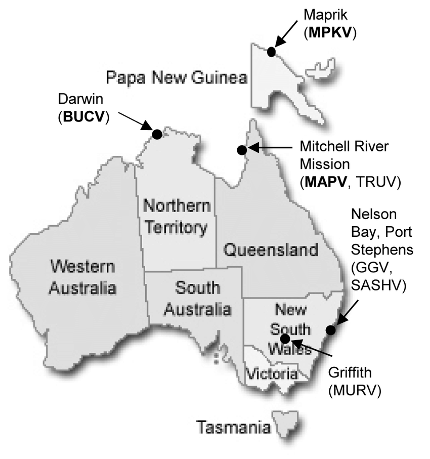 Map of Australia and Papua New Guinea showing geographical.