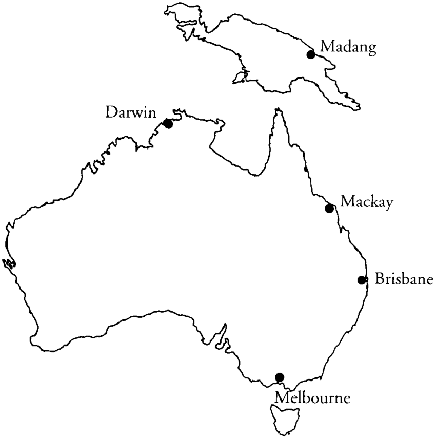 Map of Australia and Papua New Guinea, showing the.