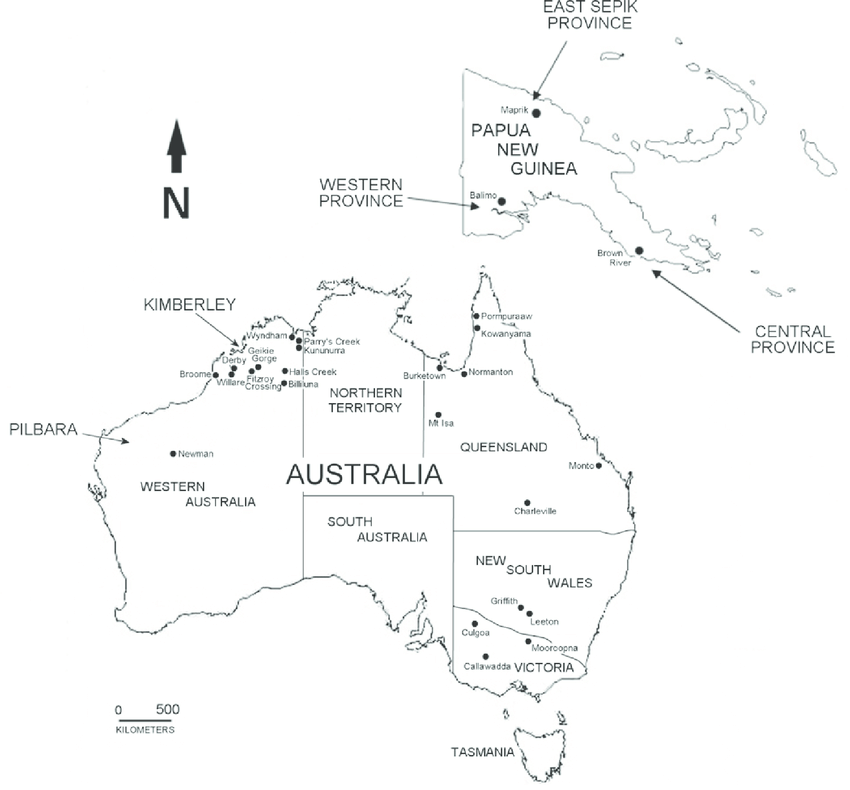 Map of Australia and Papua New Guinea showing the geographic.