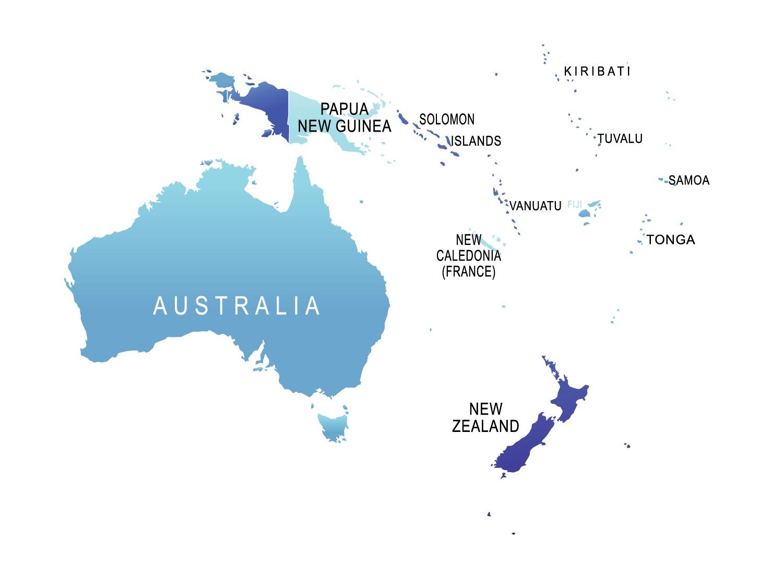 Papua New Guinea And Australia Map.