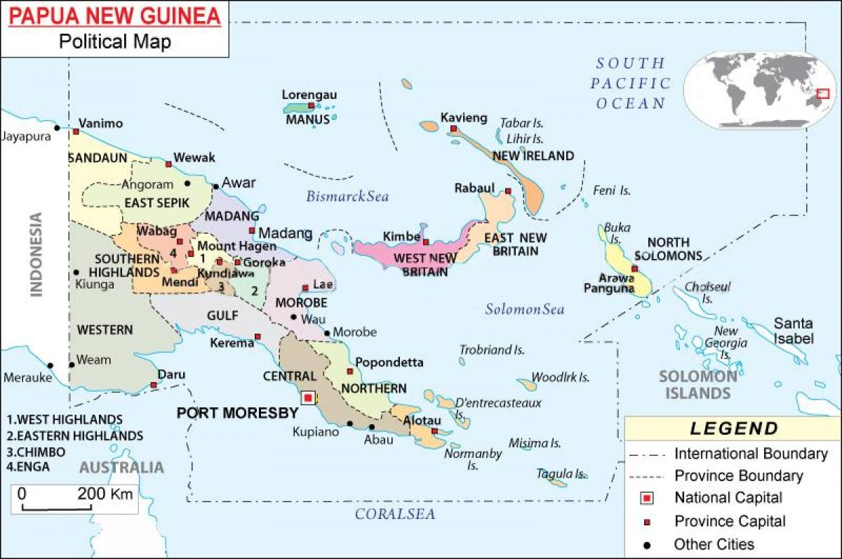 Papua new guinea political map.