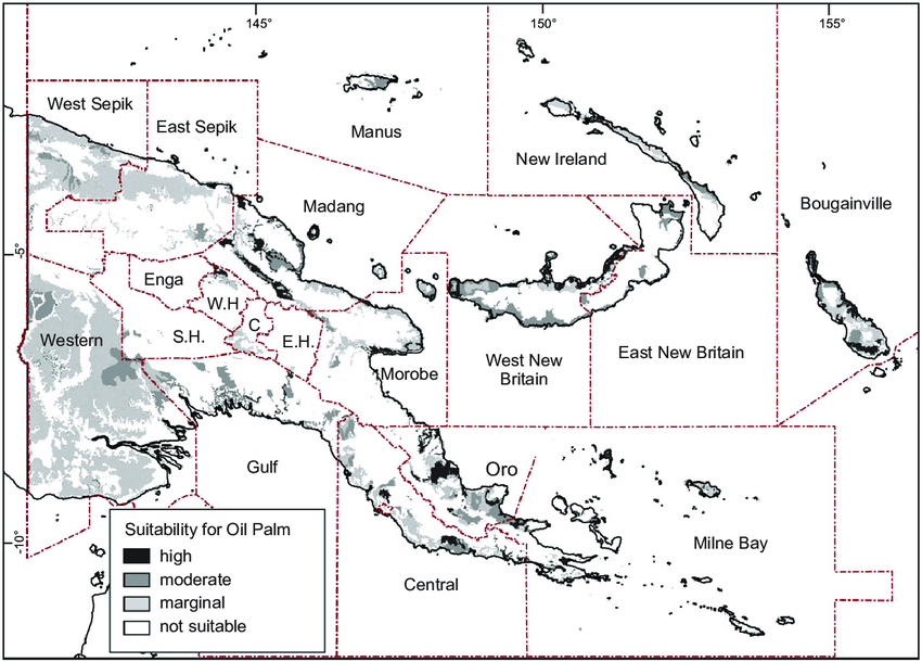 Map of PNG showing provinces and suitability for oil palm.