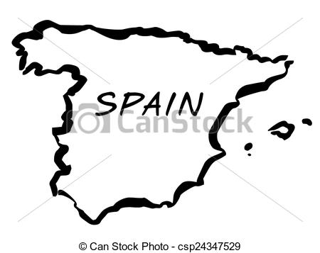 Vector Illustration of Vecto balck drawing map of Spain.