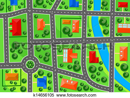 Clipart of Map of suburb town k14656105.
