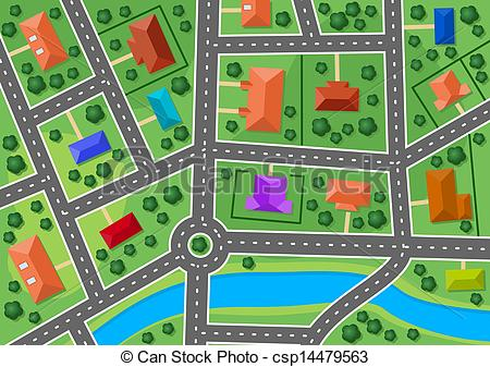 Clip Art Vector of Map of little town or suburb village for real.