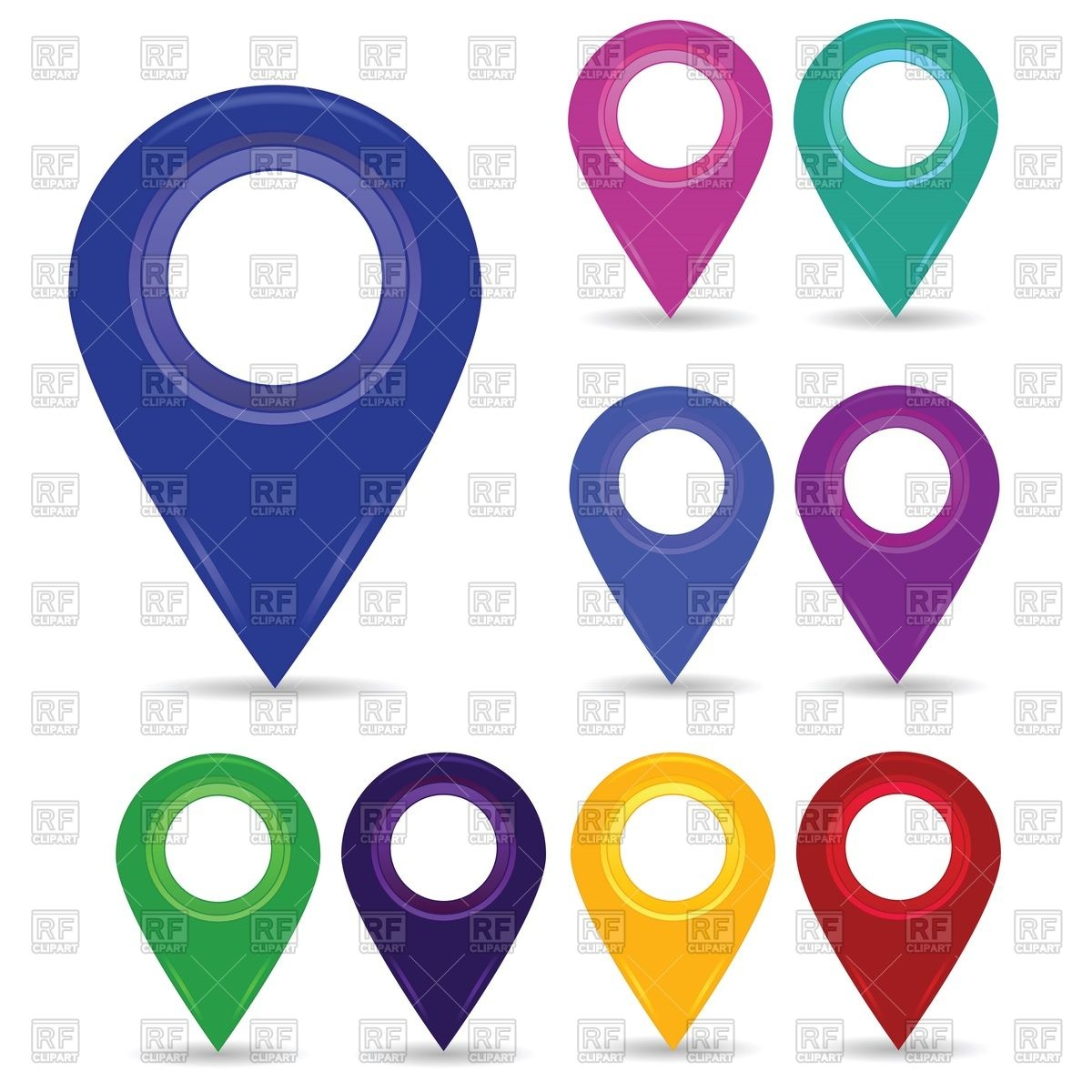 Colorful map pins or pointers Vector Image #63475.