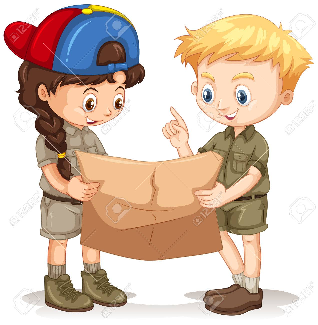 Boy and girl reading map illustration.