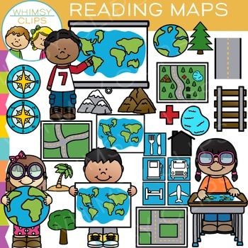 Reading Map Skills Clip Art.