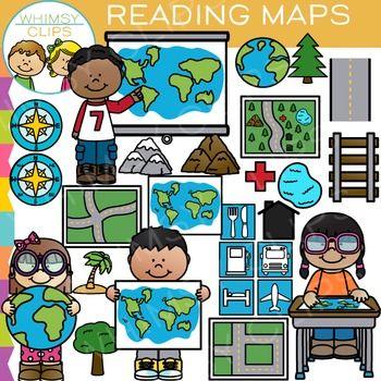 Reading Map Skills Clip Art.