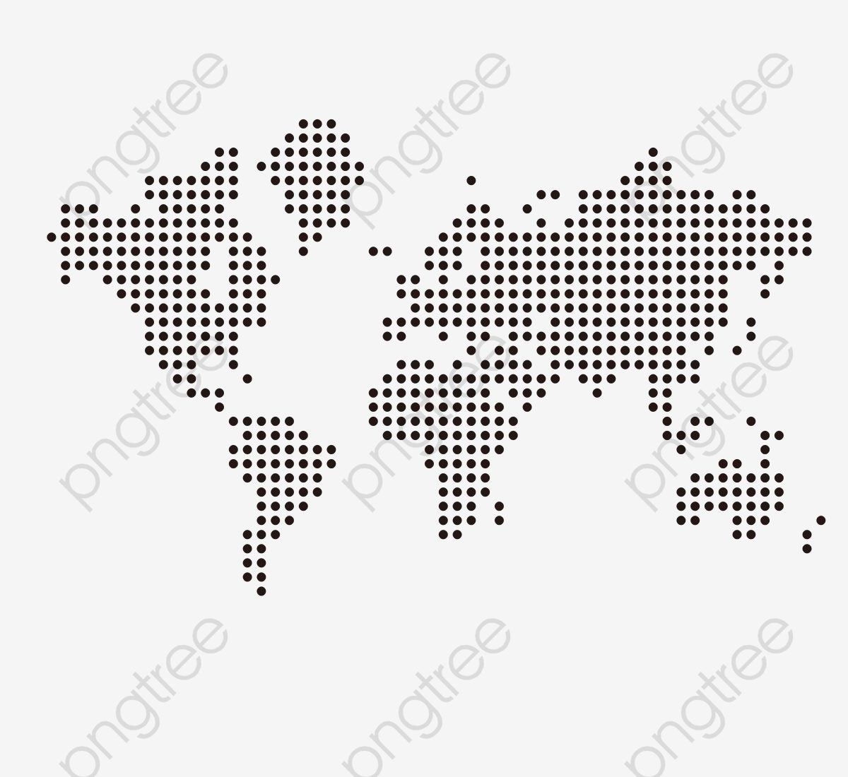 Dotted World Map, Black, Dot, Vector PNG and Vector with.