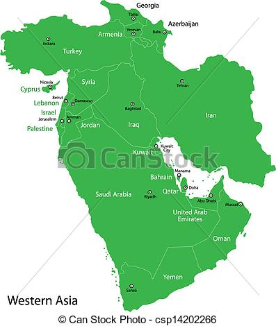 Clip Art Vector of Green Western Asia.