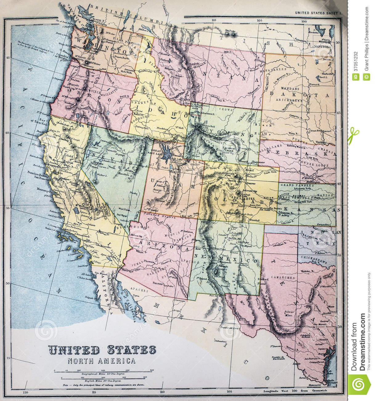 Usa map western clipart.