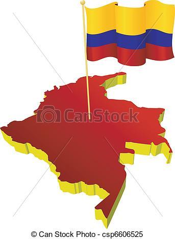 Clipart vectorial de mapa, imagen, Colombia.