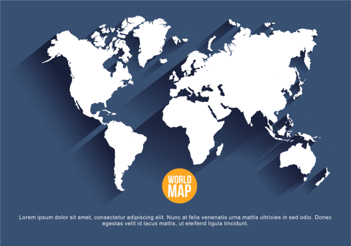 Navy Blue Mapa Mundi Vector Illustration.