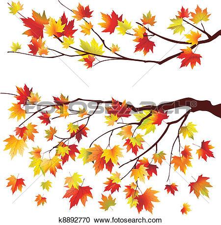 Clipart of Autumn maple branch k8892765.