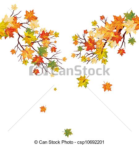 Vector Clipart of Autumn maple tree with falling leaves. Vector.