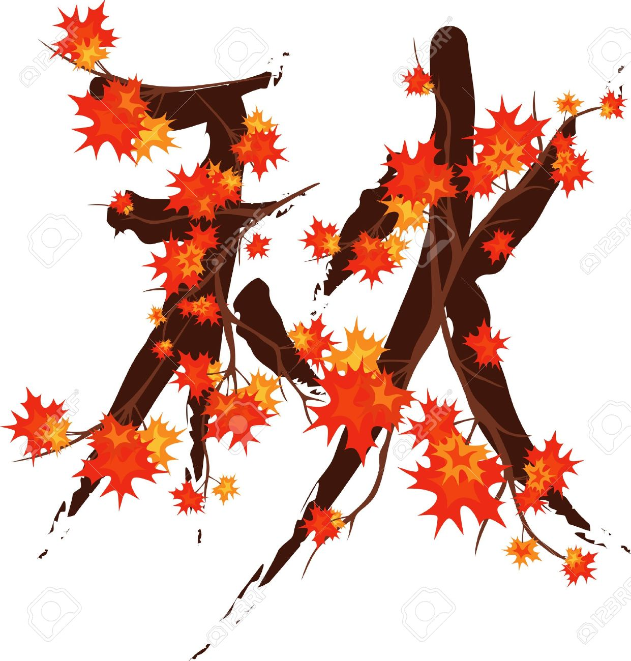 "Japanese Hieroglyph Meaning ""Autumn"" Made Of Maple Branches."