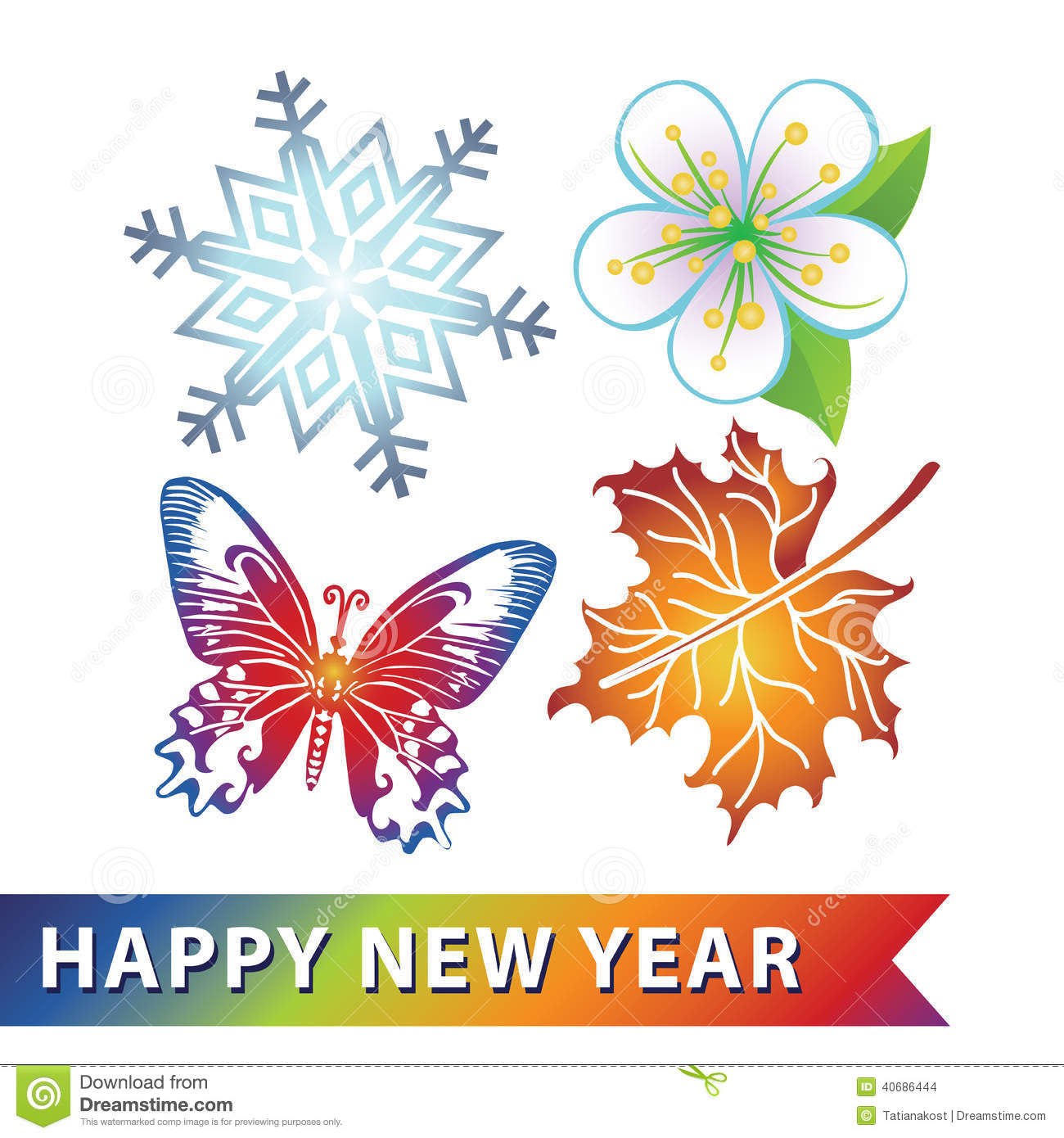 Colored Symbols Of New Year. Snowflake,flower,butterfly,maple Le.