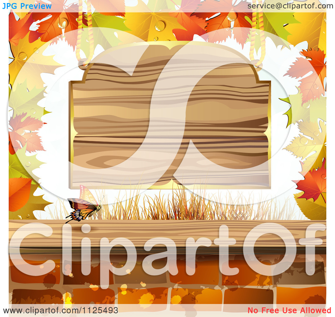 Clipart Of Autumn Maple Leaves A Butterfly Bricks And Wood Sign.