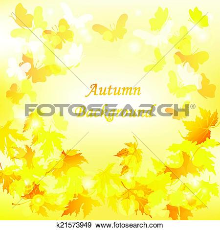 Clip Art of Autumn leaves background with Butterfly and maple leaf.