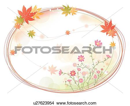 Clipart of flower template, flowers, Background, maple leaves.